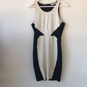 Zara Black and White Bodycon dress Faux leather